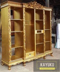 Almari Empat Pintu Ukir Warna Gold