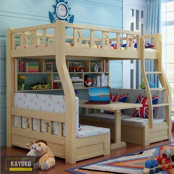 Tempat Tidur Tingkat dengan Meja Balajar 3