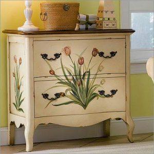 meja vintage bunga lili